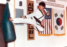 Grand Master Sung Cho doing side kick